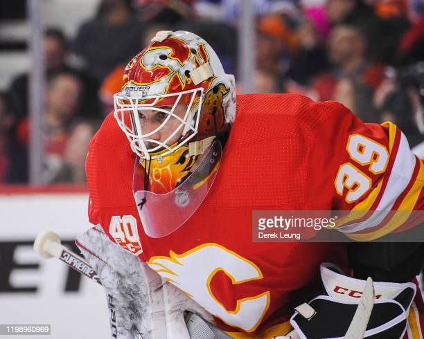 Cameron Talbot of the Calgary Flames in action against the Edmonton Oilers during an NHL game at Scotiabank Saddledome on January 11 2020 in Calgary...