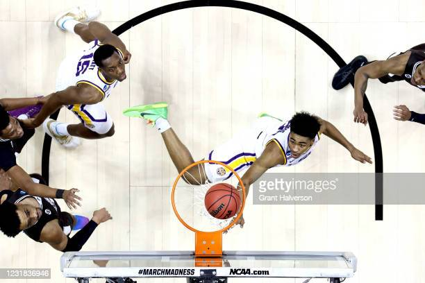 Cameron Thomas of the LSU Tigers watches his shot fall through the hoop during a game against the St. Bonaventure Bonnies in the first round of the...
