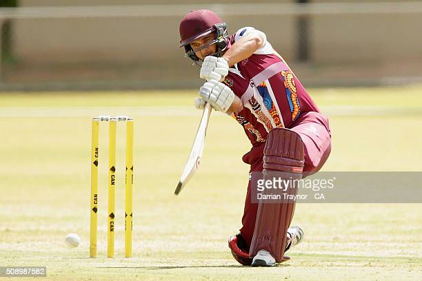 Cameron Trask of Queensland bats during the National Indigenous Cricket Championships on February 8 2016 in Alice Springs Australia