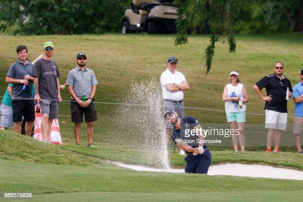 Cameron Tringale hits from a fairway bunker during the final round of the AT&T Byron Nelson on May 21, 2017 at the TPC Four Seasons Resort in Irving,...