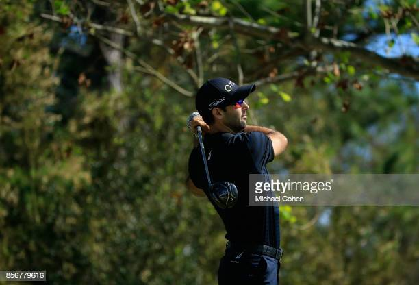 Cameron Tringale hits his drive on the seventh hole during the fourth and final round of the Webcom Tour Championship held at Atlantic Beach Country...