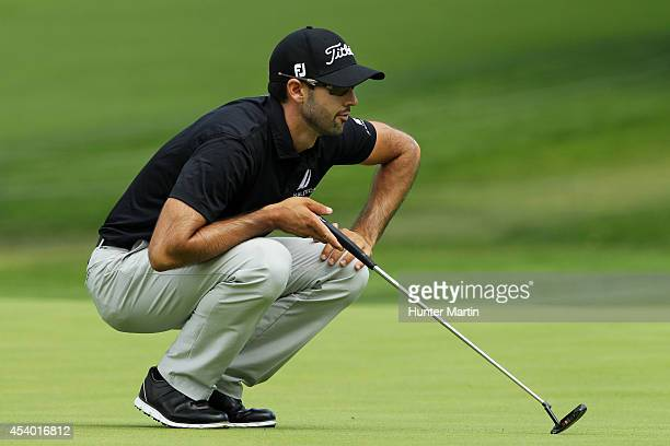 Cameron Tringale lines up a putt on the sixth green during the third round of The Barclays at The Ridgewood Country Club on August 23 2014 in Paramus...