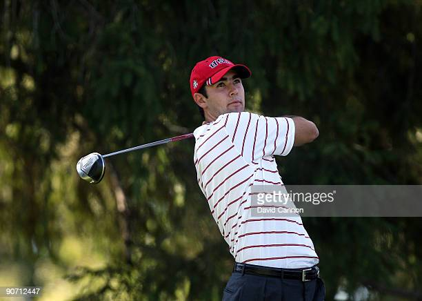Cameron Tringale of the USA tees off at the 4th hole during the final afternoon singles matches on the East Course at Merion Golf Club on September...