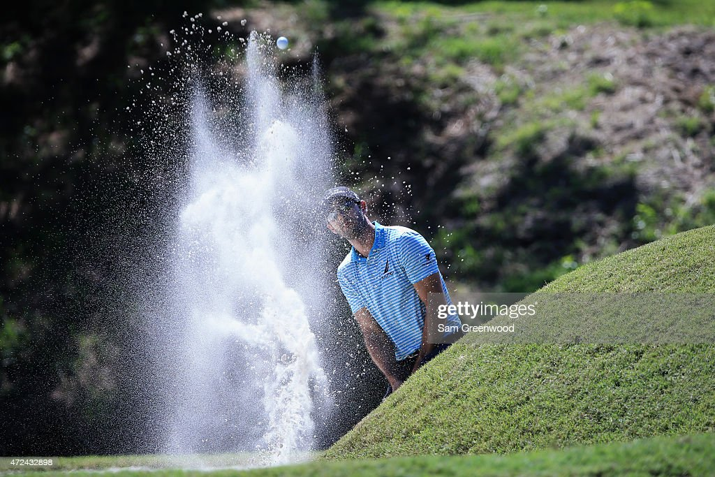 Cameron Tringale plays a shot from a bunker on the sixth hole during round one of THE PLAYERS Championship at the TPC Sawgrass Stadium course on May 7, 2015 in Ponte Vedra Beach, Florida.