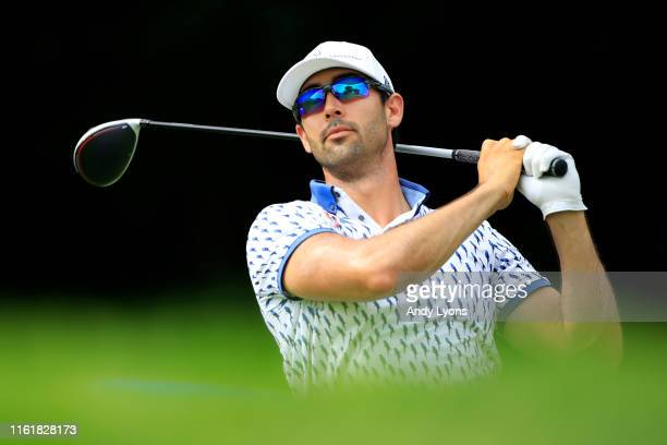 Cameron Tringale plays his shot from the 18th tee during the third round of the John Deere Classic at TPC Deere Run on July 13 2019 in Silvis Illinois