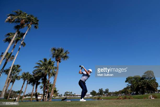 Cameron Tringale plays his shot from the ninth tee during the third round of the Honda Classic at PGA National Resort and Spa on March 02, 2019 in...