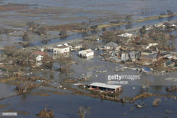 Ruins in Cameron along the Gulf Coast of Louisiana 01 October 2005 after Cameron and nearby towns were decimated by Hurricane Rita Rapid sinking of...