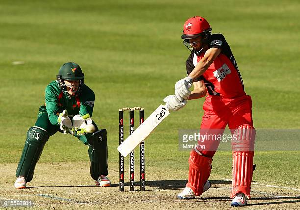 Cameron Valente of the Redbacks bats during the Matador BBQs One Day Cup match between South Australia and Tasmania at Hurstville Oval on October 19...