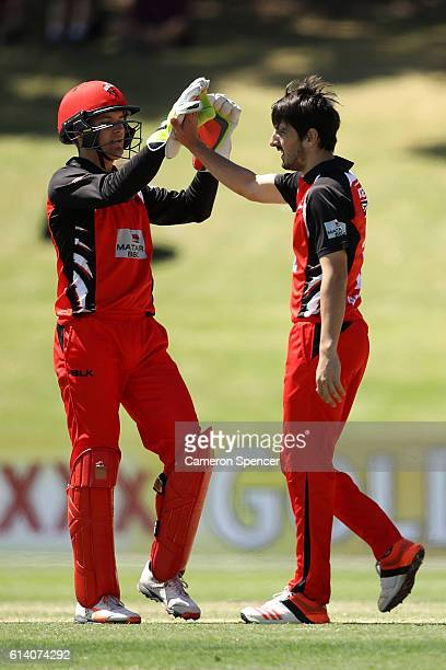 Cameron Valente of the Redbacks celebrates dismissing Chris Green of the Blues during the Matador BBQs One Day match between South Australia and New...