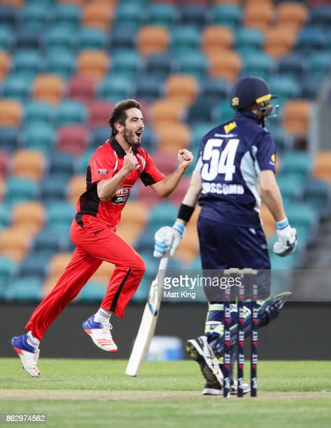 Cameron Valente of the Redbacks celebrates taking the wicket of Peter Handscomb of the Bushrangers during the JLT One Day Cup match between South...