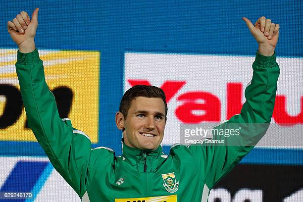 Cameron Van Der Burgh of South Africa celebrates a gold medal in the 50m Breaststroke on day six of the 13th FINA World Swimming Championships at the...