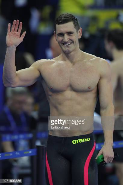 Cameron van der Burgh of South Africa celebrates after winning the Men's 100m Breaststroke Final of the 14th FINA World Swimming Championships at...