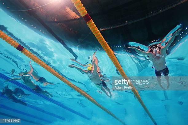 Cameron Van Der Burgh of South Africa Christian Sprenger of Australia and Kevin Cordes of the USA compete during the Swimming Men's 100m Breaststroke...