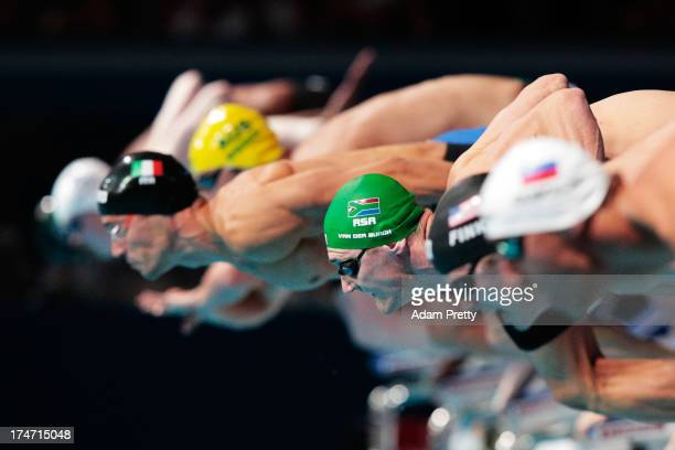 Cameron Van Der Burgh of South Africa competes during the Swimming Men's 100m Breaststroke Final on day nine of the 15th FINA World Championships at...