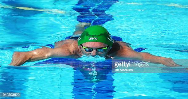 Cameron van der Burgh of South Africa competes during the Swimming heats of the Men's 100m Breaststroke on day two of the Gold Coast 2018...