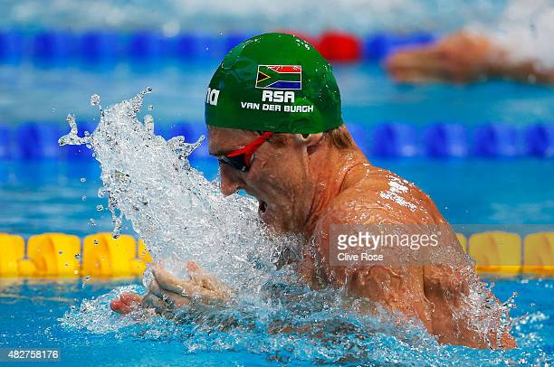 Cameron van der Burgh of South Africa competes in the Men's 100m Breaststroke Semifinals on day nine of the 16th FINA World Championships at the...