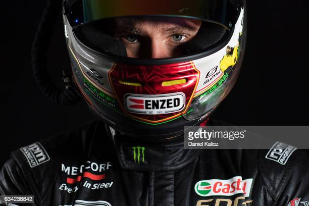 Cameron Waters driver of the Monster Energy Ford Falcon FGX poses during a portrait session during the 2017 Supercars media day on February 8 2017 in...
