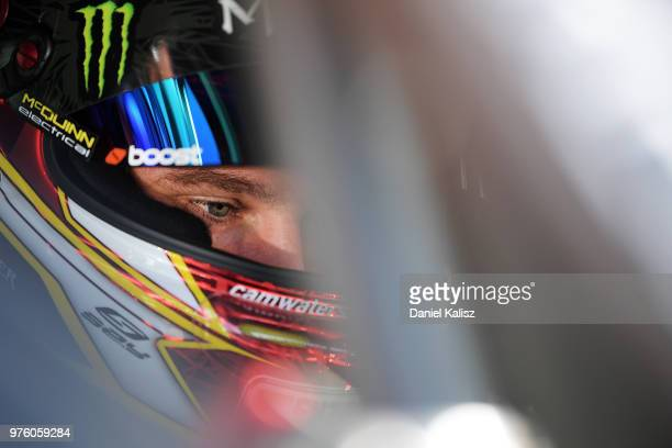 Cameron Waters driver of the Monster Energy Racing Ford Falcon FGX looks on during race 15 for the Supercars Darwin Triple Crown at Hidden Valley...