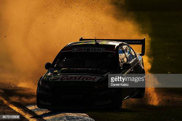 Cameron Waters drives the Monster Energy Ford Falcon FGX gets airborne on the opening lap during Qualifying Race 2 ahead of V8 Supercars Sandown 500...