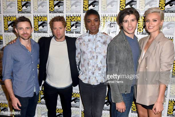 Cameron Welsh Shaun Sipos Ann Ogbomo Cameron Cuffe and Wallis Day attend the 'Krypton' Press Line during ComicCon International 2018 at Hilton...