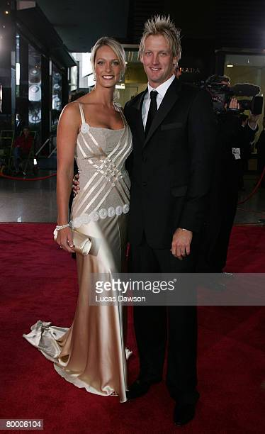 Cameron White and his partner Jacqui Morris arrive at the 2008 Allan Border Medal at Crown Casino on February 26 2008 in Melbourne Australia