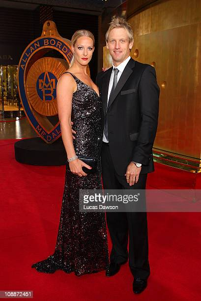 Cameron White and Jacqui Morris arrive at the Allan Border Medal held at Crown Palladium on February 7 2011 in Melbourne Australia