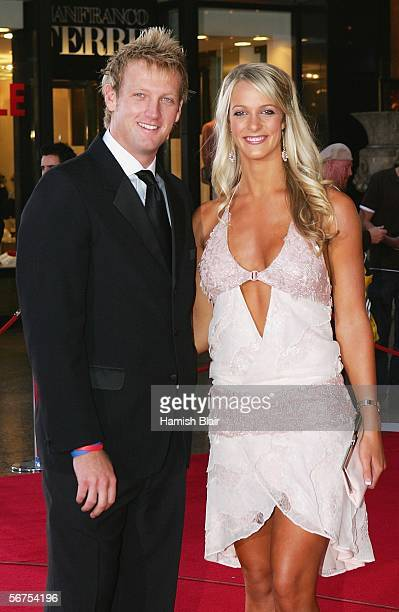 Cameron White and partner Jacqui Morris arrive for the Allan Border Medal Dinner held at Crown Casino on February 6 2006 in Melbourne Australia The...