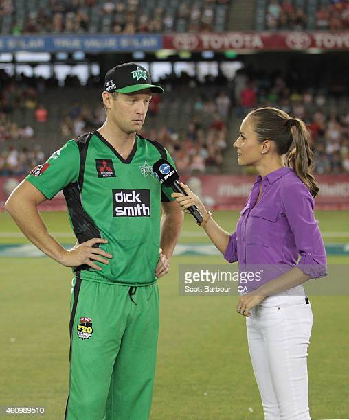 Cameron White captain of the Stars is interviewed by Channel Ten presenter Roz Kelly after the coin toss during the Big Bash League match between the...