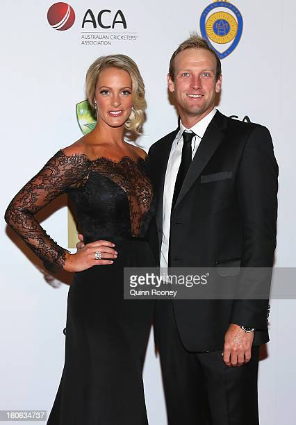 Cameron White of Australia and his partner Jacqui Morris arrive at the 2013 Allan Border Medal awards ceremony at Crown Palladium on February 4 2013...