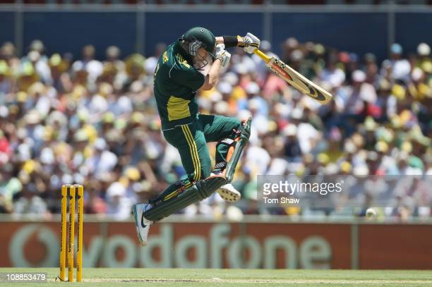 Cameron White of Australia avoids a bouncer during game seven of the Commonwealth Bank One Day International Series between Australia and England at...