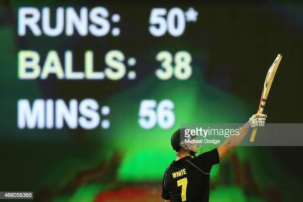 Cameron White of Australia celebrates his half century during game two of the International Twenty20 series between Australia and England at the...