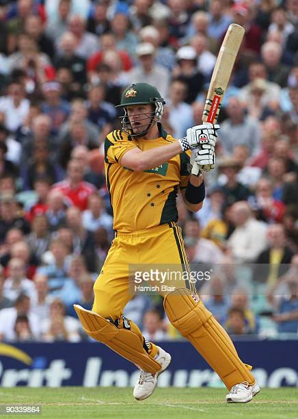 Cameron White of Australia hits out during the 1st NatWest One Day International between England and Australia at The Brit Oval on September 4 2009...
