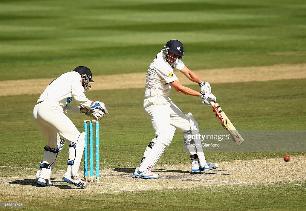 Cameron White of the Bushrangers bats during day three of the Sheffield Shield match between the Victoria Bushrangers and the Western Australia Warriors at Melbourne Cricket Ground on November 1, 2013 in Melbourne, Australia.