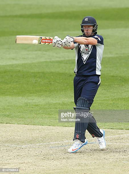 Cameron White of the Bushrangers bats during the Matador BBQs One Day Cup match between Victoria and Tasmania at North Sydney Oval on October 13 2016...