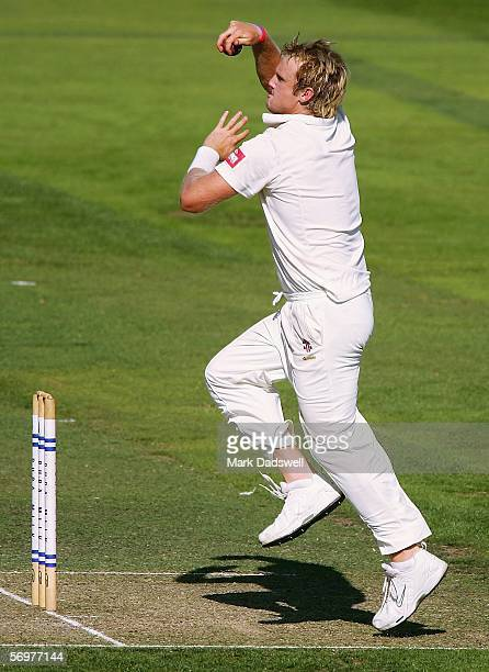 Cameron White of the Bushrangers bowls during day one of the Pura Cup match between the Victorian Bushrangers and the Queensland Bulls at the...
