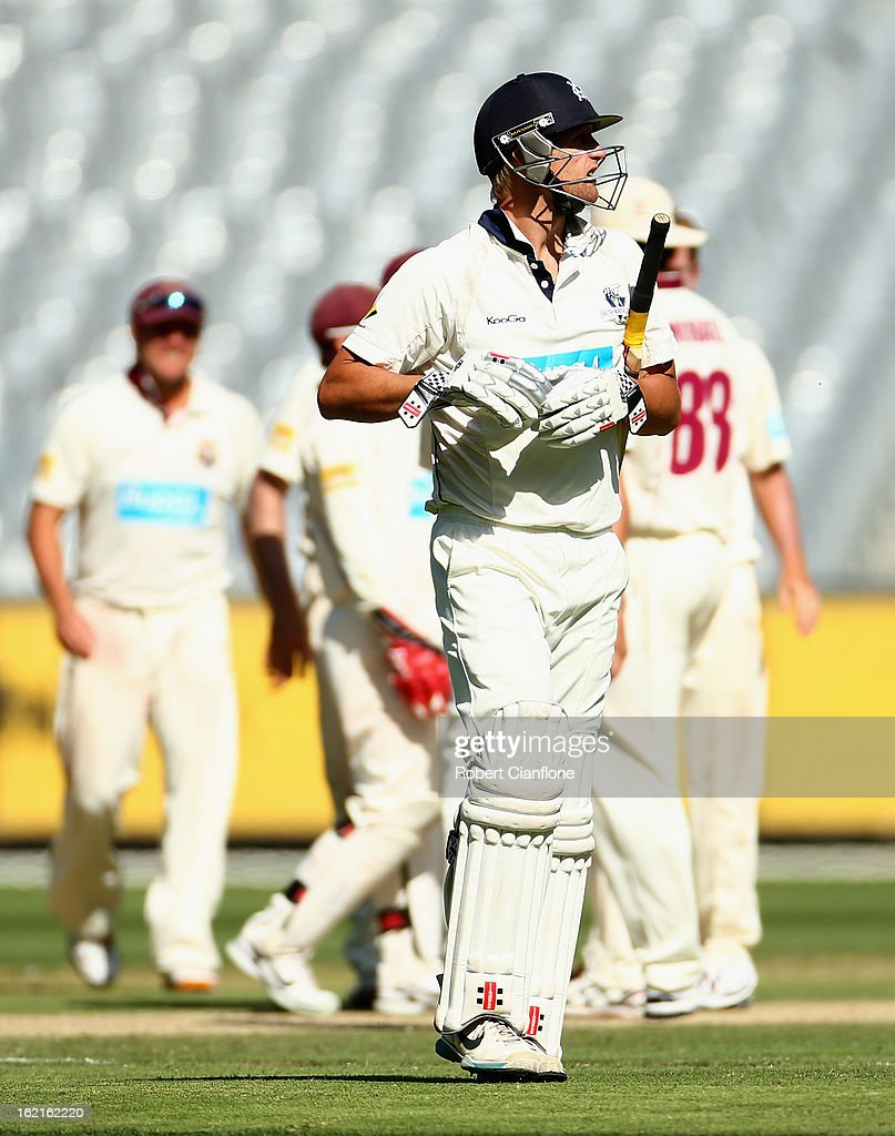 Cameron White of the Bushrangers walks from the ground after he was dismissed during day three of the Sheffield Shield match between the Victorian Bushrangers and Queensland Bulls at the Melbourne Cricket Ground on February 20, 2013 in Melbourne, Australia.