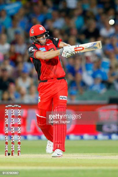Cameron White of the Melbourne Renegades is caught off the bowling of Michael Neser of the Adelaide Strikers during the Big Bash League match between...