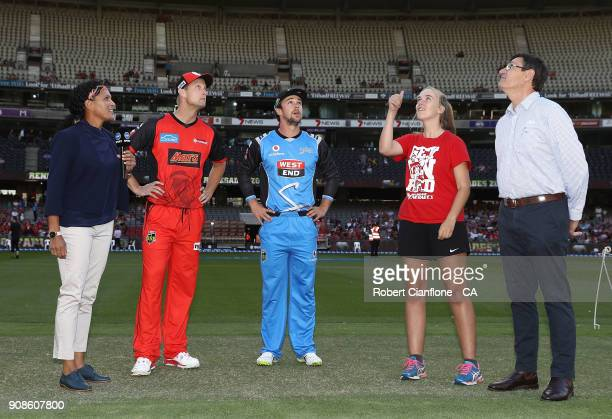 Cameron White of the Renegades and Travis Head of the Strikers are seen at the coin toss prior to the Big Bash League match between the Melbourne...