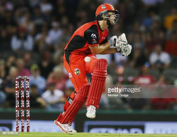 Cameron White of the Renegades is hit in the groin during the Big Bash League match between the Melbourne Renegades and the Brisbane Heat at Etihad...