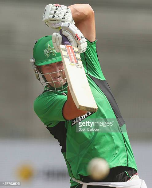 Cameron White of the Stars bats during a Melbourne Stars Big Bash League training session at the Melbourne Cricket Ground on December 19 2013 in...
