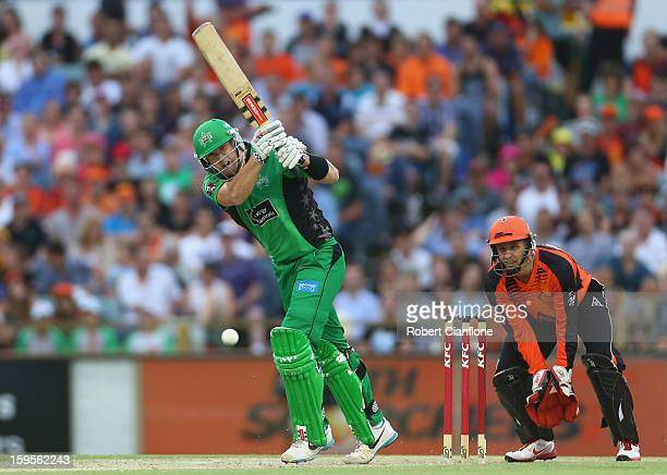 Cameron White of the Stars bats during the Big Bash League semi-final match between the Perth Scorchers and the Melbourne Stars at the WACA on...