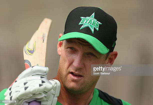 Cameron White of the Stars looks on during a Melbourne Stars Big Bash League training session at the Melbourne Cricket Ground on December 19 2013 in...