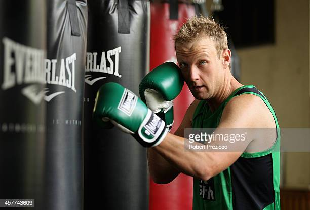 Cameron White of the Stars poses for photos during a Melbourne Stars & Melbourne Renegades joint Big Bash League media session at Leo Barry's Gym on...