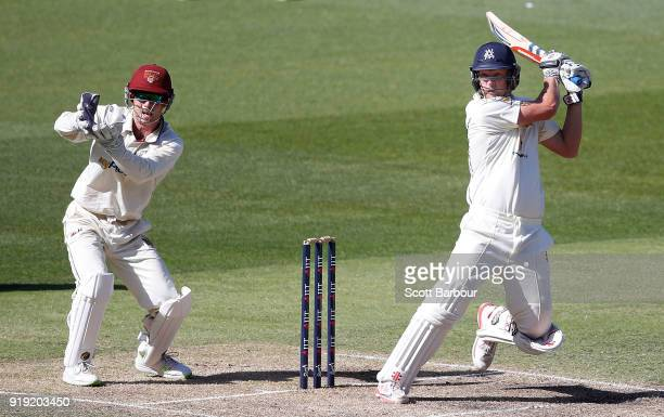 Cameron White of Victoria bats during day two of the Sheffield Shield match between Victoria and Queensland at the Melbourne Cricket Ground on...