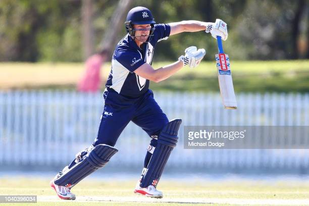Cameron White of Victoria bats during the JLT One Day Cup between Victoria and Western Australia at Junction Oval on September 26 2018 in Melbourne...