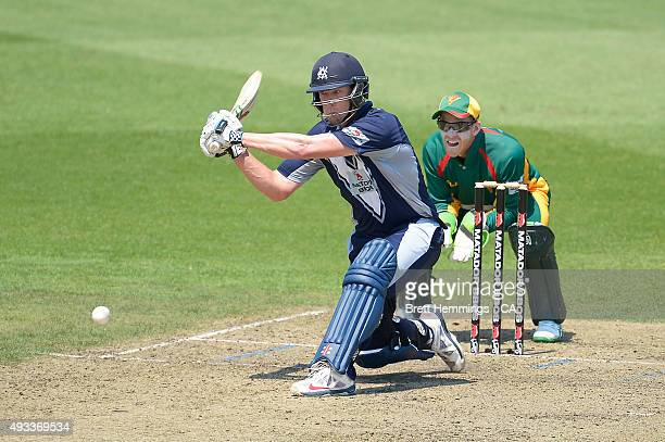 Cameron White of Victoria bats during the Matador BBQs One Day Cup match between Tasmania and Victoria at North Sydney Oval on October 20 2015 in...