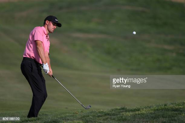 Cameron Wilson plays a shot on the ninth hole during the first round of the Webcom Tour Ellie Mae Classic at TPC Stonebrae on August 3 2017 in...