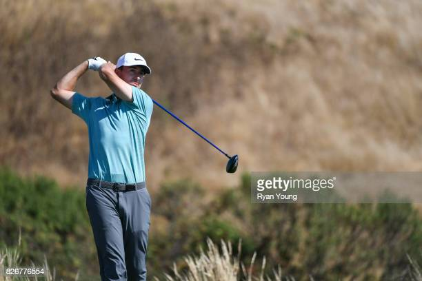 Cameron Wilson plays his shot from the 17th tee during the third round of the Webcom Tour Ellie Mae Classic at TPC Stonebrae on August 5 2017 in...