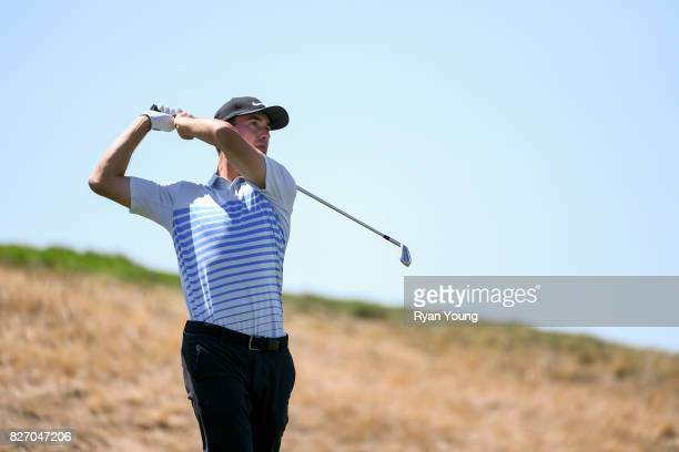 Cameron Wilson plays his shot from the second tee during the final round of the Webcom Tour Ellie Mae Classic at TPC Stonebrae on August 6 2017 in...