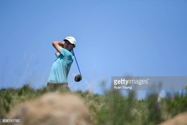Cameron Wilson plays his shot from the third tee during the third round of the Webcom Tour Ellie Mae Classic at TPC Stonebrae on August 5 2017 in...